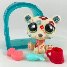 Littlest Pet Shop RARE Tattooed Glitter Polar Bear #2343 w/Accessories #Hasbro