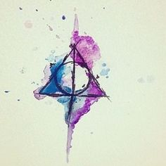 Watercolor Deathly Hallows Tattoo Design