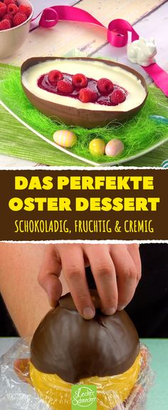 Weil er Melone fest in Folie wickelt, flippen Ostern alle aus. With this delicious chocolate egg you will cause a stir at Easter! Dessert Simple, Creative Desserts, Easy Desserts, Apple Desserts, Easy Cake Recipes, Dessert Recipes, Creme Mascarpone, Desserts Ostern, Food Staples