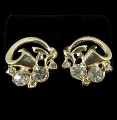 Reinad Signed Earrings Vintage Gold Tone Clear Rhinestones | eBay