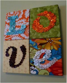 Get canvas's at a craft store pick some cute buttons and a nice fabric and JUST HAVE FUN WITH IT!