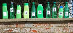 """Ten Green Bottles"" Early Years counting and singing activity. It makes far more sense to re-cycle green plastic bottles than to try and painting bottles green. Maths Eyfs, Numeracy Activities, Eyfs Classroom, Nursery Activities, Outdoor Classroom, Preschool Activities, Classroom Decor, Outdoor Activities, Early Years Maths"