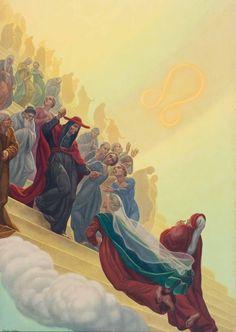 dantereader: Amos Nattini's Divine Comedy, Paradiso, Canto XXI. Dante Alighieri, Walter Crane, George Henry, Kay Nielsen, Lady Godiva, Robert Burns, Catholic Art, Catholic Saints, Sketch Painting