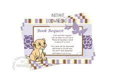 partyexpressinvitations - Baby Nala Book Insert Card for Baby Shower, $4.00 (http://www.partyexpressinvitations.com/baby-nala-book-insert-card-for-baby-shower/)
