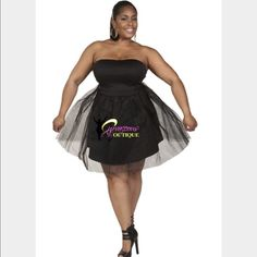Plus Size Black Ballerina Tulle Dress A very cute, elegant black strapless dress layered with tulle. You can rock this dress to a wedding, date night or any party and be a hit, just throw on some red pumps and red accessories or pair it with your favorite color. I purchased this dress from a Boutique and have never worn it because it doesn't fit me. It's a 2x but fit more like a 1x. k glam Dresses Strapless