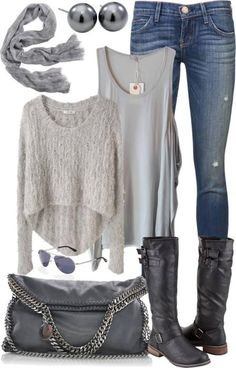 gray fashion jeans top sweater autumn clothing | I would absolutely rock this outfit with my Dusk Boba Carrier! The tank and sweater layer would be especially helpful for discreet baby nursing, the boots have a stellar low heel and I adore the wash on the jeans. Not sure about the bag, the the earrings sure our toddler-friendly! #babycarrierfashion #modernmama