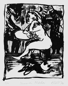 Petra Wildenhahn   Sinnendes Mädchen   25 x 20 cm   Lithographie   Papiergröße 42 x 20 cm   2008   Auflage 7   signiert