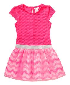 Another great find on #zulily! Pink Chevron Overlay Cap-Sleeve Dress - Toddler & Girls #zulilyfinds