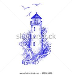Lighthouse in the storm vector illustration, hand drawn ink engraving design. Nautical theme illustration concept.  - stock vector