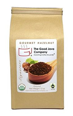 The Good Java Company  Gourmet Hazelnut USDA Organic Fair Trade Small Batch Roasted Coffee Ground 12oz ** Want to know more, click on the image.  This link participates in Amazon Service LLC Associates Program, a program designed to let participant earn advertising fees by advertising and linking to Amazon.com.