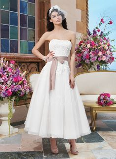Wedding Dresses - $144.75 - A-Line/Princess Strapless Ankle-Length Organza Wedding Dress With Lace Sash Bow(s) (0025058509)