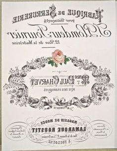 Antigua publicidad o postal francesa con rosas y texto en blanco y negro Paul Charvet en espejo para transferir . French label with roses in mirror efect to transfer.