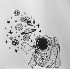35 Cool Easy Whimsical Drawing Ideas Things to Draw – Galaxy Art Galaxy Drawings, Space Drawings, Cool Art Drawings, Pencil Art Drawings, Art Drawings Sketches, Drawing Ideas, Drawing Skills, Indie Drawings, Simple Tumblr Drawings