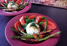 Burrata Cheese with Sliced Tomatoes. Dressed with Extra Virgin Olive Oil and Age Balsamic Vinegar. Fresh Basil and Roasted Asparagus Wrapped in Prosciutto.