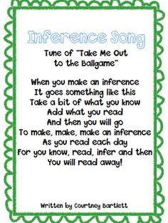 Inference Song~ Teach students this song to help them remember how to find inferences.