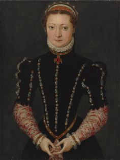 1565 - An Unknown Noblewoman, by Pieter Jansz. Pourbus (1524 - 1584). Oil on panel: 16 1⁄4 x 12 1⁄4 in. (41.3 x 31.2 cm.)