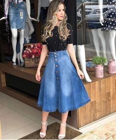 Jean Skirt Outfits: 32 Chic Ways To Wear A Denim Skirt Skirt outfits Modest Clothing, Modest Dresses, Modest Fashion, Fashion Outfits, Apostolic Fashion, Skirt Outfits Modest, Apostolic Style, Modest Wear, Fashion Clothes