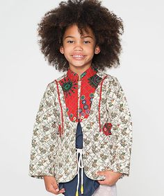 Rust & Tan Quilted Floral Jacket - Toddler & Girls