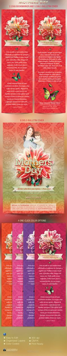 The Mothers Day Church Bookmarker and Bulletin Cover Template has a decrotive, bold design with flowers and butterflies topped off with beautiful typograhy that fits with a Mother's Day or Love theme. It is geared towards usage for any Contemporary Church Event. - Price: $6.00