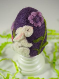 This felted egg is made entirely of hand dyed wool, sculpted with a felting needle. It is approximately 2.5