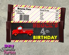 Printable Firetruck Candy Bar Wrappers (Digital File Only)