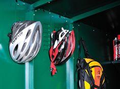 Metal Bike Storage shed & bike maintenance garage. Secured by Design - Asgard Big Sheds, Cheap Sheds, Bike Equipment, Bike Store, Shed Storage, Shed Plans, How To Plan, Helmets, Metal