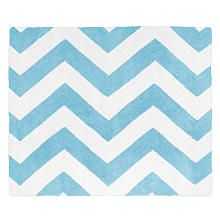 Sweet Jojo Designs Turquoise and White Chevron Collection Floor Rug - 36in x 30in