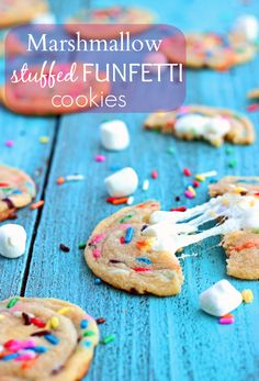 Gooey Marshmallow-stuffed funfetti cookies from Chelsea's Messy Apron
