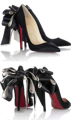 Christian Louboutin ~ Red Bottom Heels w Large Bow, Black, 2015