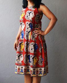 Buy Red Kalamkari Printed Dress • Madhurima Bhattacharjee Western Dresses, Indian Dresses, Indian Outfits, Saree Dress, Blouse Dress, Salwar Designs, Blouse Designs, Frock For Teens, Kalamkari Dresses