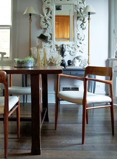 "A Chicago Family's Victorian Cottage | Design*Sponge - Angela recovered these vintage dining chairs in ""indestructible"" faux leather and couldn't be happier with the results."