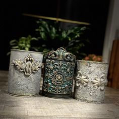 Clay Mold Appliques for Tin Can Planters: A Vintage Craft - Unique Balcony & Garden Decoration and Easy DIY Ideas Tin Can Crafts, Crafts To Do, Decorative Mouldings, Decorative Boxes, Tin Can Art, Iron Orchid Designs, Altered Tins, Plastic Bottle Crafts, Clay Ornaments