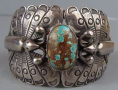 IMPORTANT Vintage 1940s NAVAJO Turquoise BUTTERFLY Silver Cuff Bracelet w/Prov.