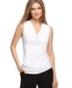 Soft draping adds feminine flair to this Calvin Klein cowlneck top -- a versatile wardrobe staple! | Polyester/spandex | Machine washable | Imported | Cowl neckline  | Pullover style  | Sleeveless | F