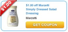 1.00 off Marzetti Simply Dressed Salad Dressing -- I love this dressing!  So here's a #coupon, find a BOGO deal or sale deal and you can score!