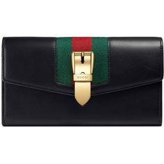 Gucci Sylvie Leather Continental Wallet ($730) ❤ liked on Polyvore featuring bags, wallets, accessories, black, wallets & small accessories, women, leather chain wallet, gucci bags, snap wallet and leather bags