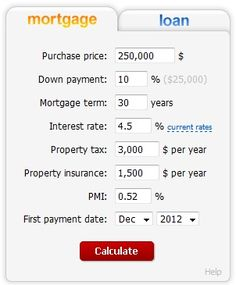 The mortgage calculator with taxes and insurance estimates your monthly home mortgage payment and shows amortization table. The loan calculator estimates your car, auto, moto or student loan payments, shows amortization schedule and charts. Mortgage Loan Calculator, Mortgage Tips, Mortgage Payment, Mortgage Amortization, Down Payment, Buying First Home, Refinance Mortgage