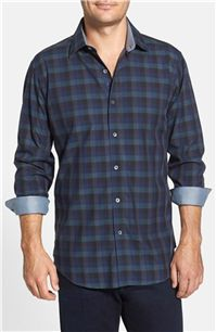 Bugatchi - Regular Fit Gingham Sport Shirt: It looks great with dark denim, and the contrast interior trim on the collar and cuff create a polished finish.