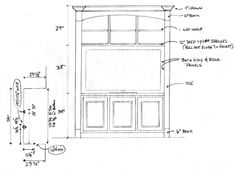 "Drawing for custom media built-in for John Lopez in the Humble area (Houston).  This cabinet is going inside a ""niche"" next to John's fireplace in his living room.  His home has similar elliptical arched details in the doors and windows so we are playing off those so that the piece appears to be original to the house. (drawing by Jared Meadors)"