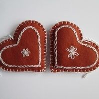 Felt 'Gingerbread' Heart Tree Decorations