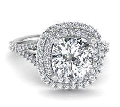Cushion Cut Double Halo Engagement Ring