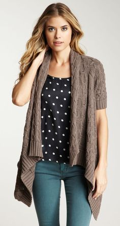Autumn Cashmere Short Sleeve Draped Cable Knit Cardigan