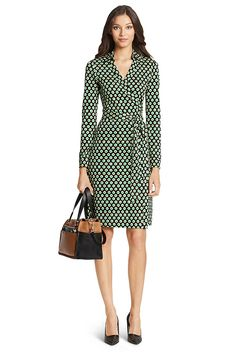 Sewing inspiration: From DVF. The New Jeanne Two wrap dress is a modern take on the timeless classic. It's as fresh, flattering, and chic as ever. Cross over wrap with straight skirt and a self-tie belt. With collar. Long sleeves. In our seasonless silk jersey. Unlined. Fit runs small.