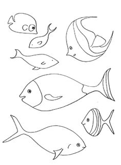 School of Fish Coloring Page - What's better than a fish coloring page? Why a School of Fish Coloring Page, of course! Octopus Coloring Page, Ocean Coloring Pages, Animal Coloring Pages, Coloring Book Pages, Coloring Sheets, Free Adult Coloring, Coloring Pages For Kids, Kids Coloring, Easy Crafts For Kids