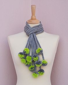 Knitted scarf pom pom necklace loop scarf Gray Lime Chain scarf Fiber Knit Necklace from Ainur special order by Rahel