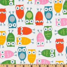 Urban Zoologie Owls White/Multi from @fabricdotcom  Designed by Ann Kelle for Robert Kaufman Fine Fabrics, this fabric features adorable owls. The color palette includes orange, turquoise, yellow and pink on a white background. Use for quilting and craft projects.