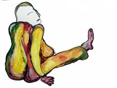 leslieweissman_untitled_strang configurations of folks_watercolor and ink on yupo_2015_20x26
