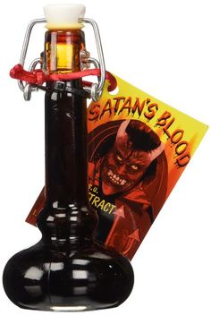Satan's Blood Hot Sauce (1.35 FL.OZ. / 40 ml): Blood vial shaped bottle with 800,000 Scoville units of pepper extract. Conceived on Friday the 13th in October 2000, during a full moon. This i…