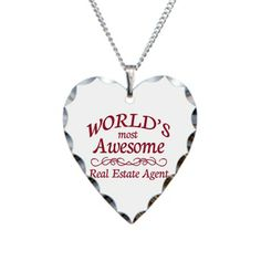World's Most Awesome Real Estate Agent Necklace Heart Charm