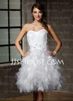 Wedding Dresses - $154.09 - A-Line/Princess Sweetheart Short/Mini Satin  Tulle Wedding Dresses With Ruffle  Beadwork (002012778) http://jjshouse.com/A-Line-Princess-Sweetheart-Short-Mini-Satin-Tulle-Wedding-Dresses-With-Ruffle-Beadwork-002012778-g12778